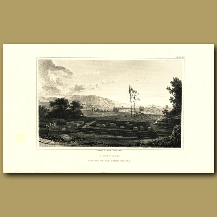 Antique print. Pompeii: Remains of the Greek Temple
