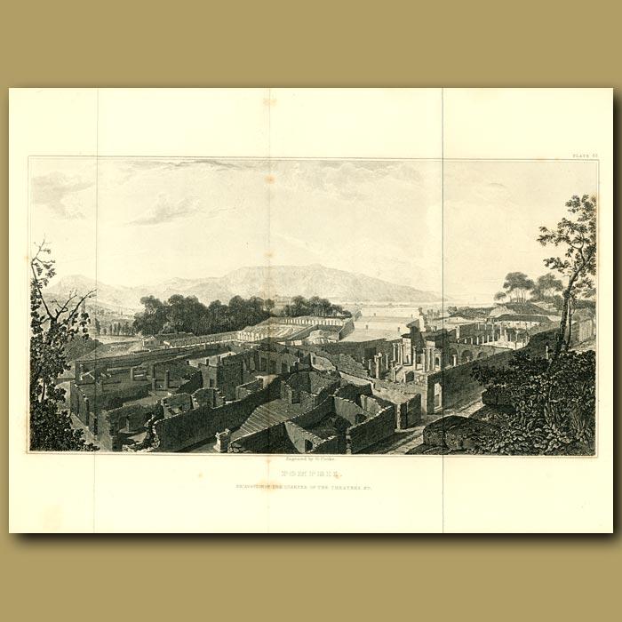 Antique print. Pompeii: View of the excavation of the quarter of the Theatres
