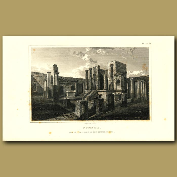 Antique print. Pompeii: View in the Court of the Temple of Isis