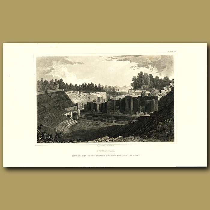 Antique print. Pompeii: View in the Great Theatre looking towards the scene