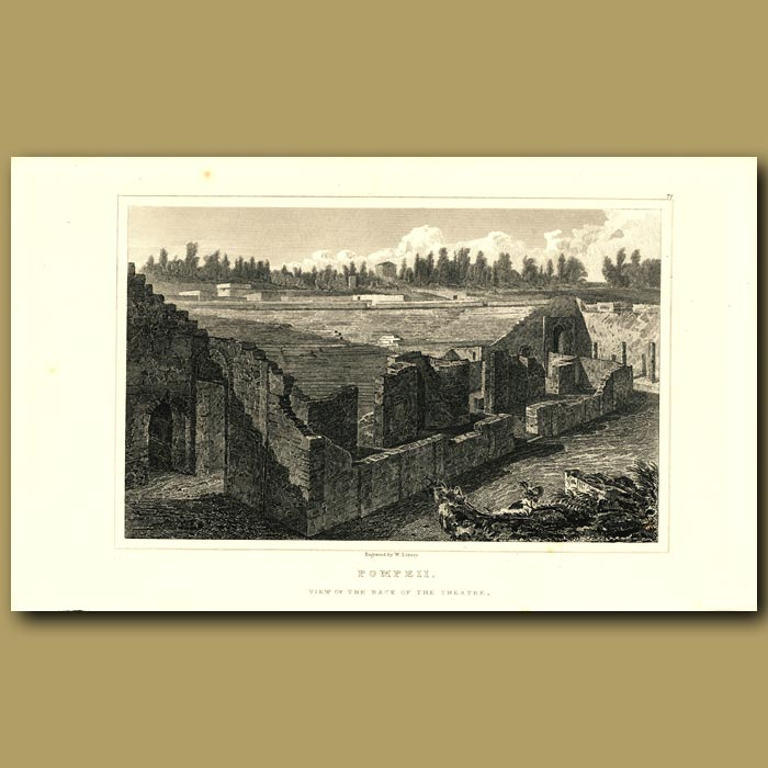 Antique print. Pompeii: View of the back of the Theatre
