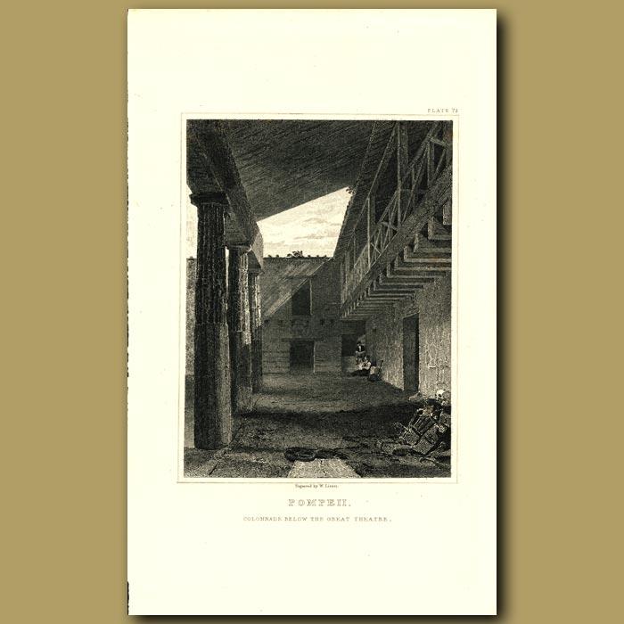 Antique print. Pompeii: Colonnade below the Great Theatre