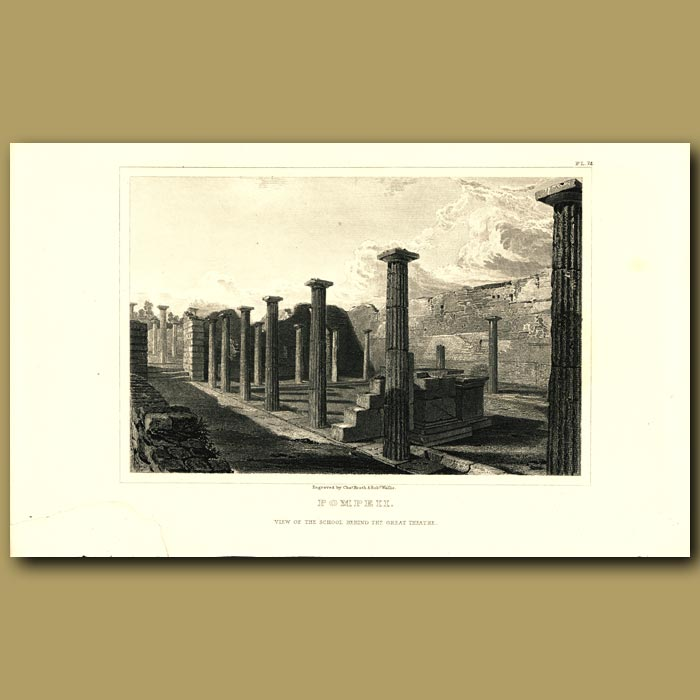 Antique print. Pompeii: View of the school behind the Great Theatre
