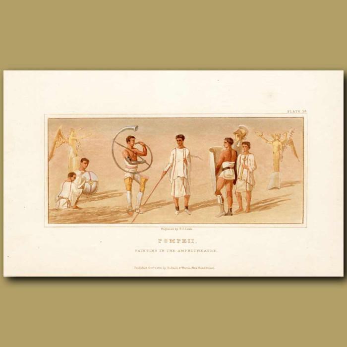 Antique print. Pompeii: Painting In The Amphitheatre