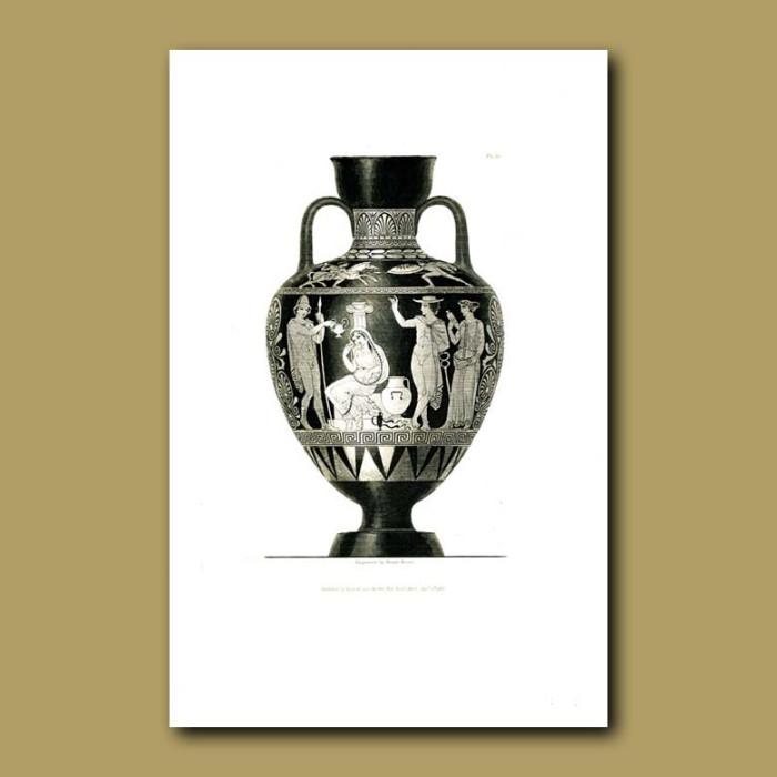 Antique print. Etruscan vase (VI)