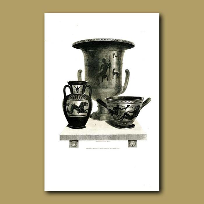 Antique print. Etruscan vases (X)