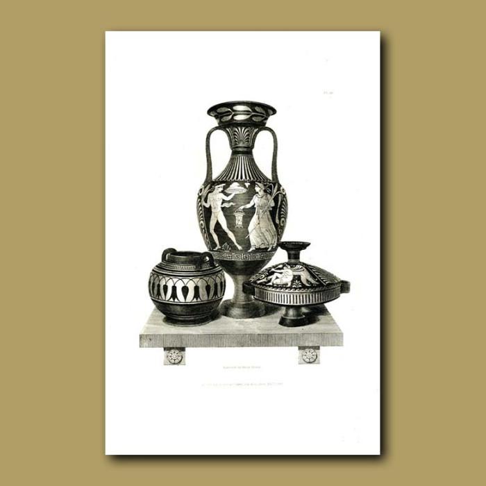 Antique print. Etruscan vases (XI)