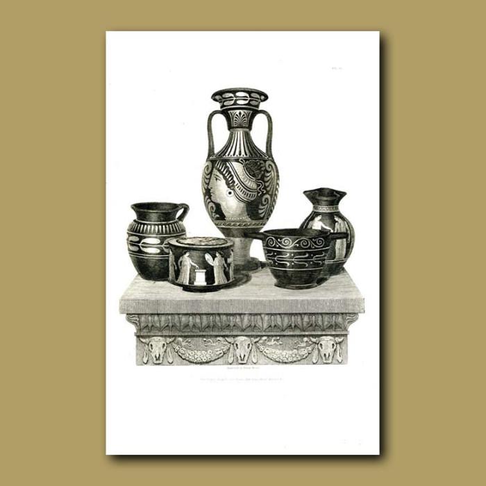Antique print. Etruscan vases (XII)
