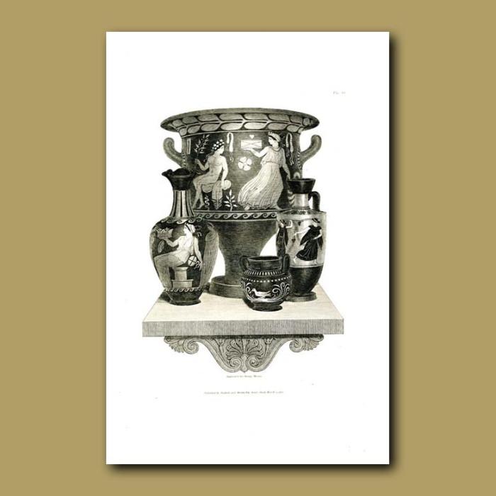 Antique print. Etruscan vases (XIII)