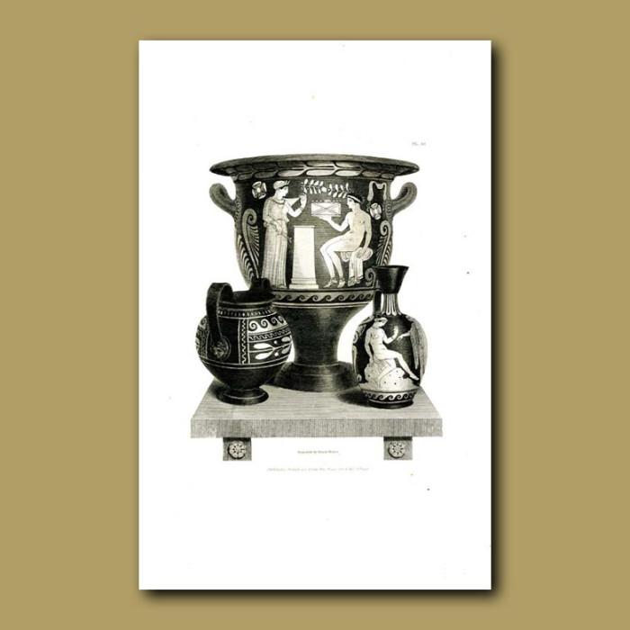 Antique print. Etruscan vases (XIV)