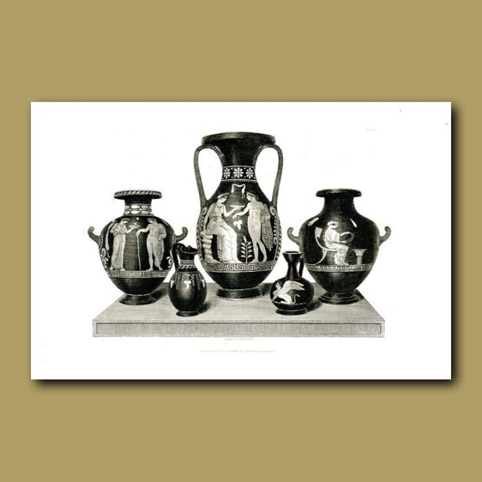 Antique print. Etruscan vases (XV)