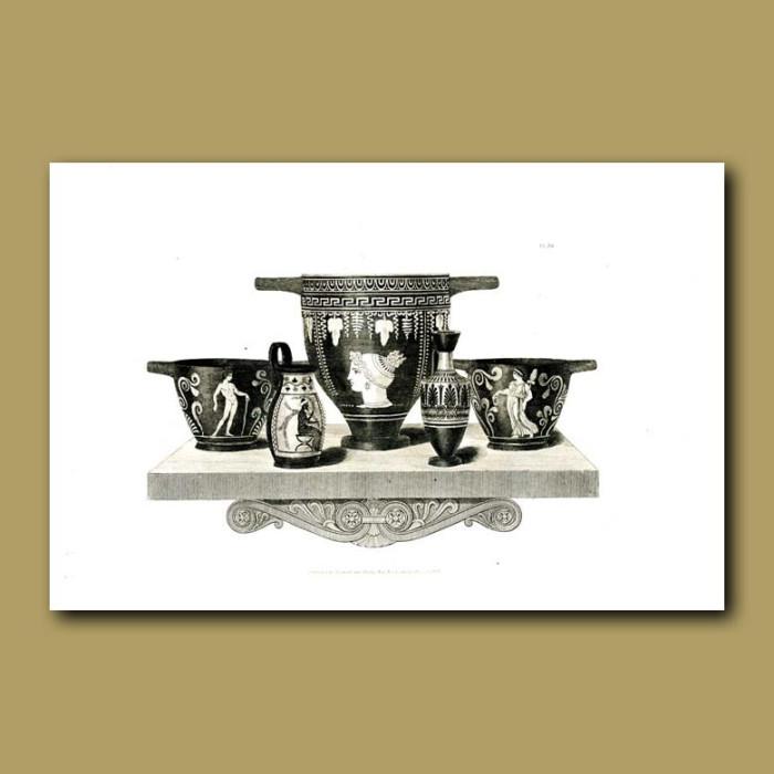 Antique print. Etruscan vases (XVII)