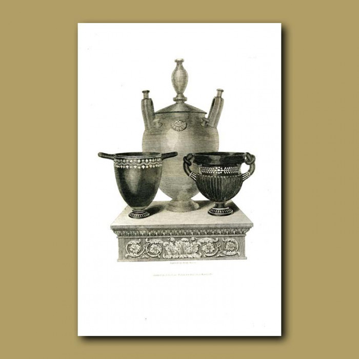 Antique print. Etruscan vases (XVIII)