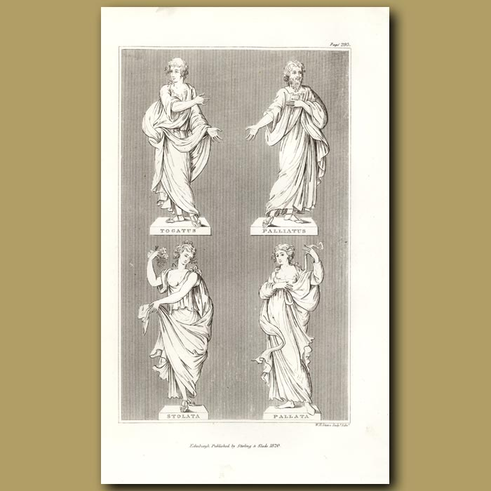 Antique print. Statues illustrating different togas