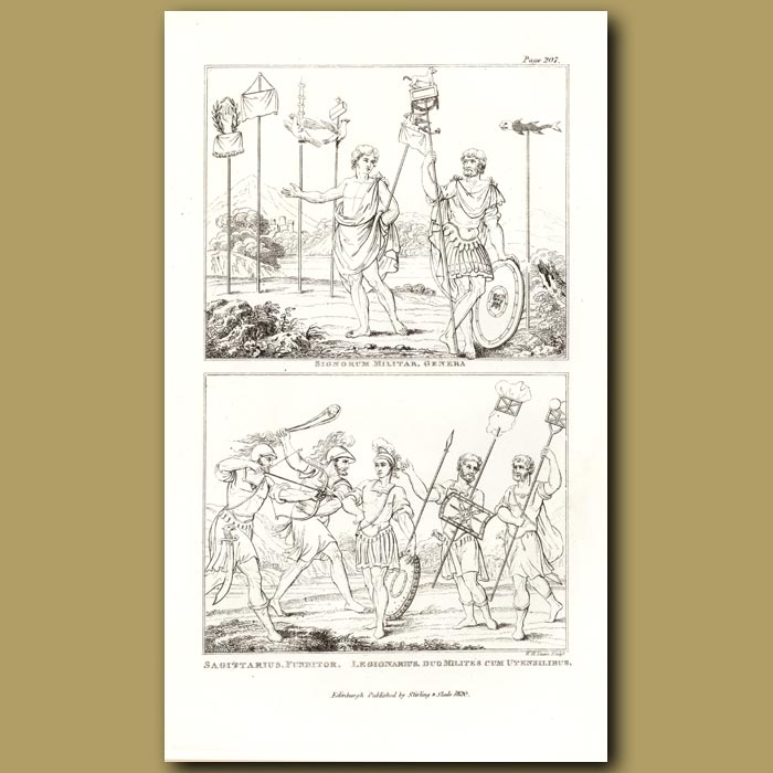 Antique print. Military Flags and Insignias, Archer, Legionaire, Sling Shot