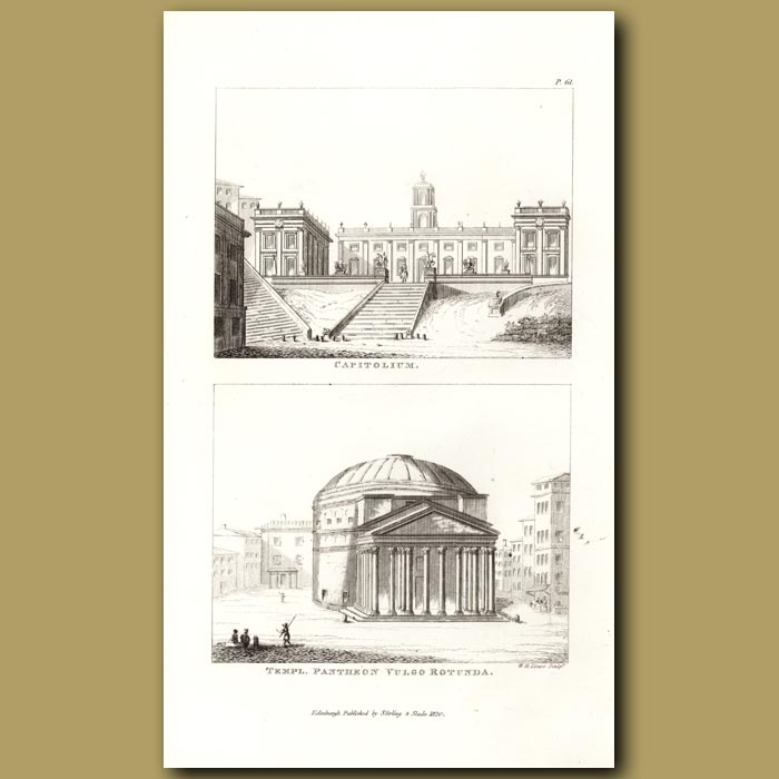 Antique print. Pantheon and Capitol temples