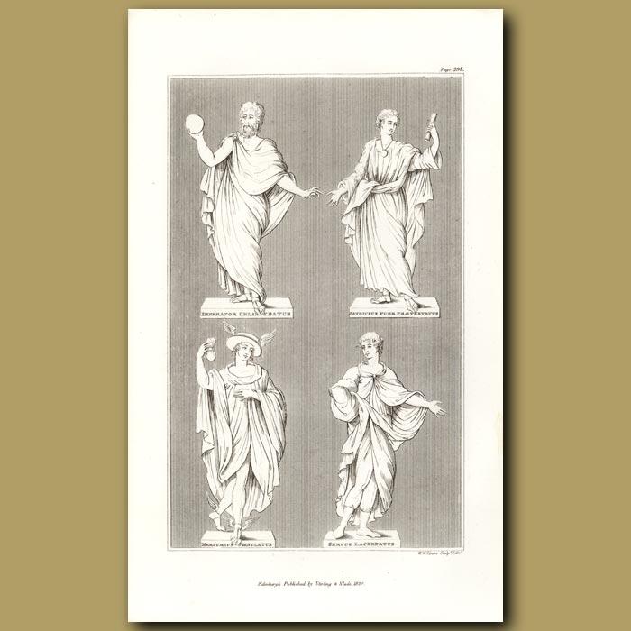 Antique print. Roman statues