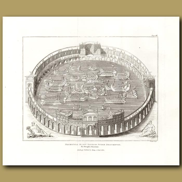 Antique print. Aquatic amphitheatre. (Double sized print)