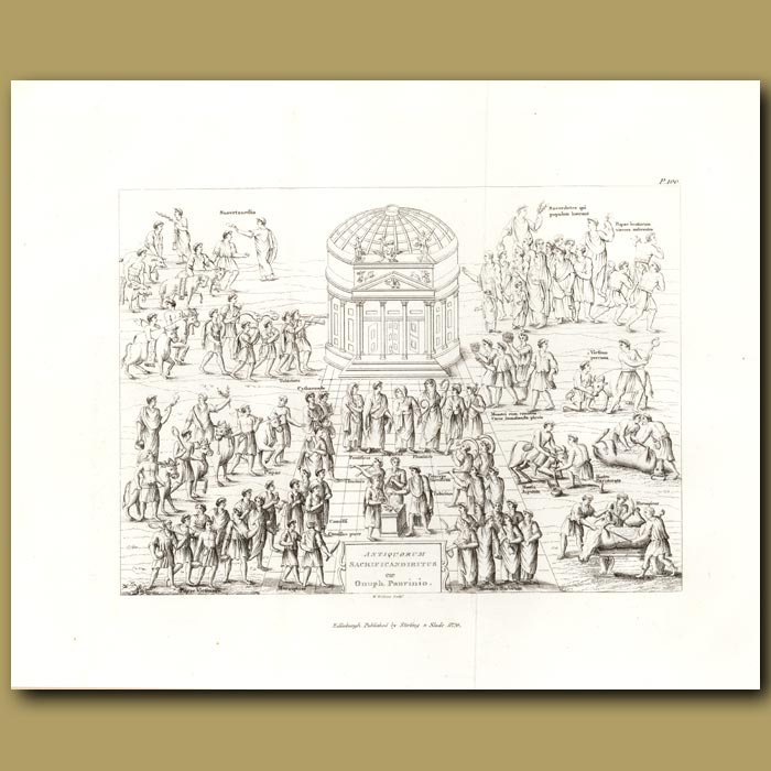 Antique print. Offerings to Roman Gods. (Double sized print)
