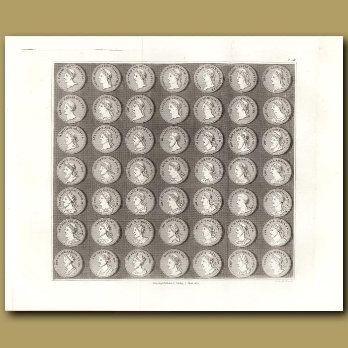 Antique print. Roman coins. (Double sized print)