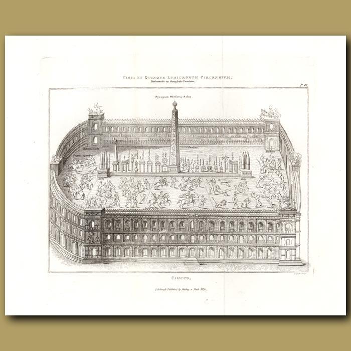 Antique print. Roman circus. (Double sized print)