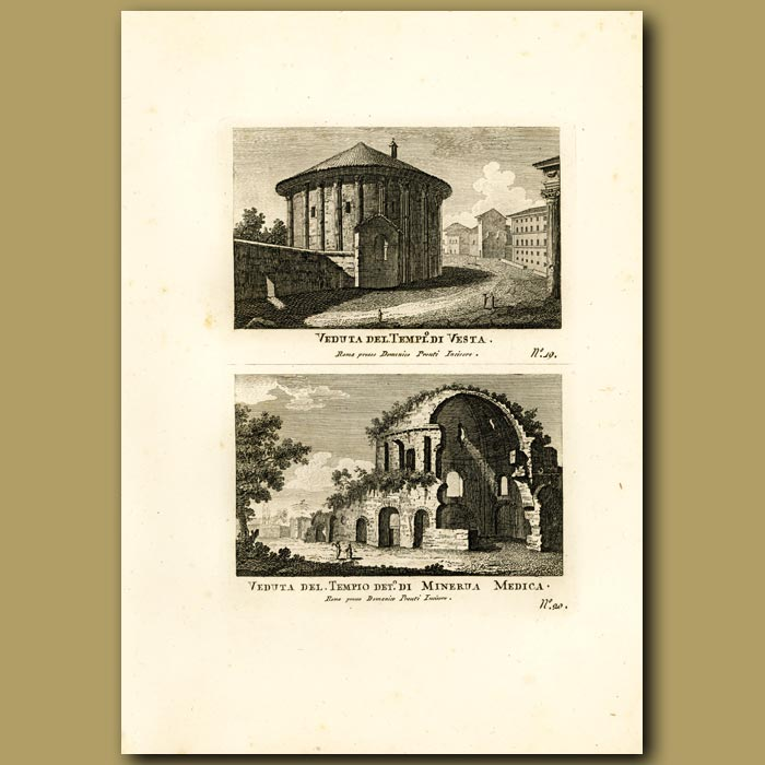 Antique print. Views of the Temples of Vesta and Minerva