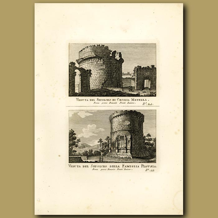 Antique print. Views of the Sepulchre (burial ground) of Cecilia Metella and Plauzia family