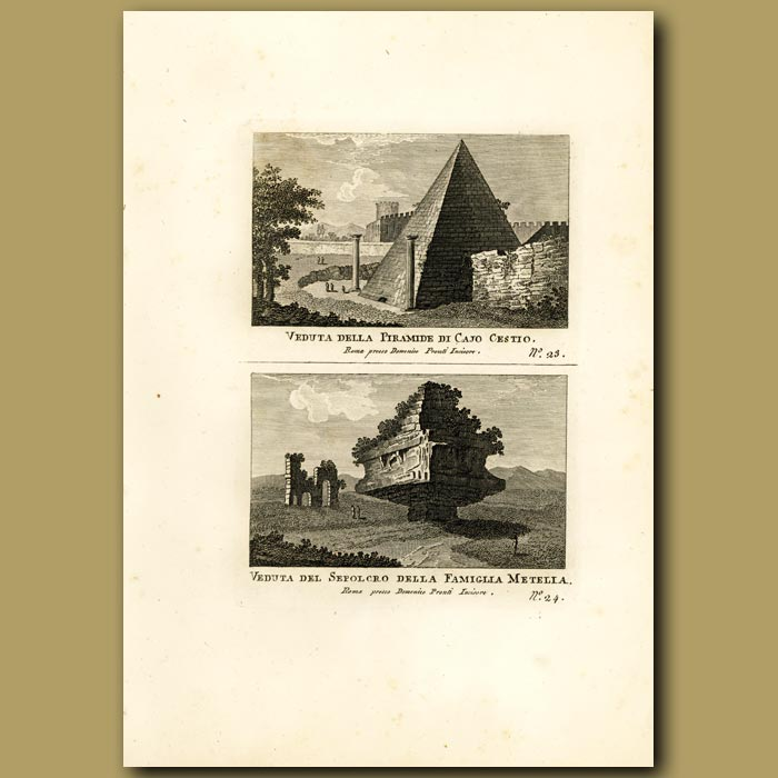 Antique print. Views of the Pyramid of cestio and the Metella family tomb
