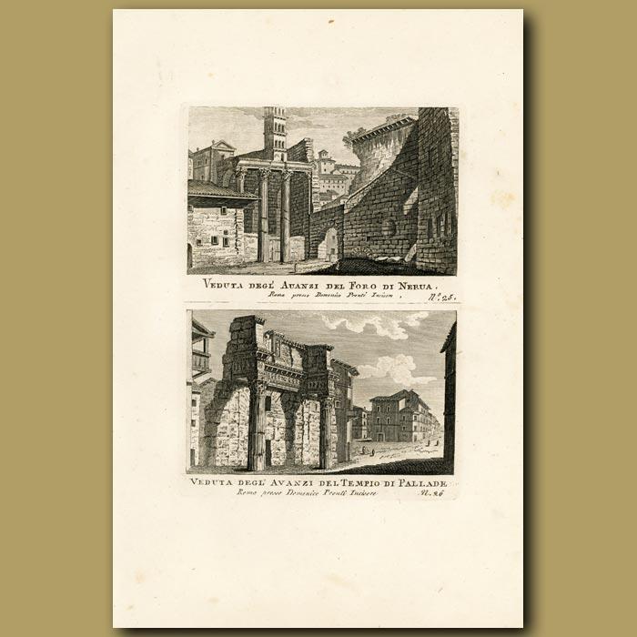 Antique print. Views of the Palladian Temple (Tempio di Pallade)