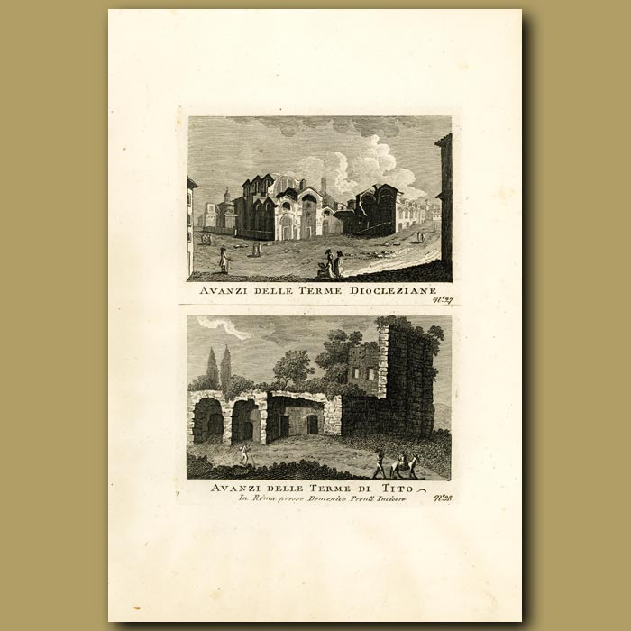 Antique print. Views of the Baths of Titus and Baths of Diocletian (Terme Dioclziane and Terme Di Titi)
