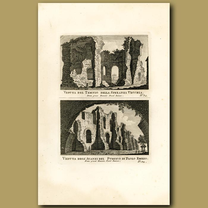 Antique print. Views of the Temple of Uecchia and Portico of Paolo Emilio