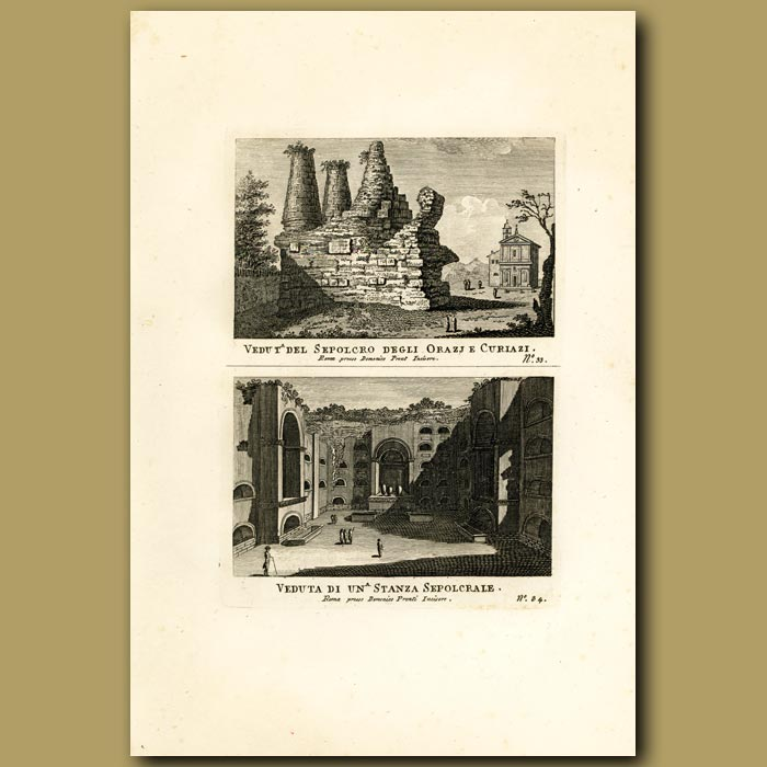 Antique print. Views of Sepulchres (Burial Grounds or Tombs)