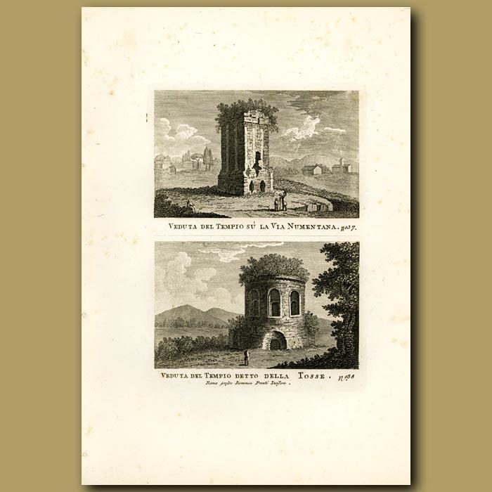 Antique print. Views of Roman Temple remains