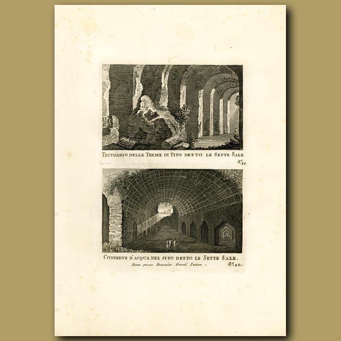 Antique print. Tepidarium  (warm Roman Bathroom)