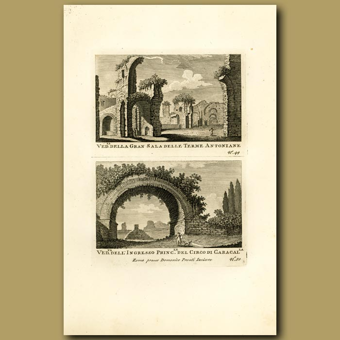 Antique print. View of Roman Arches