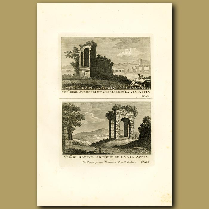 Antique print. Views of tombs on the Appian Way
