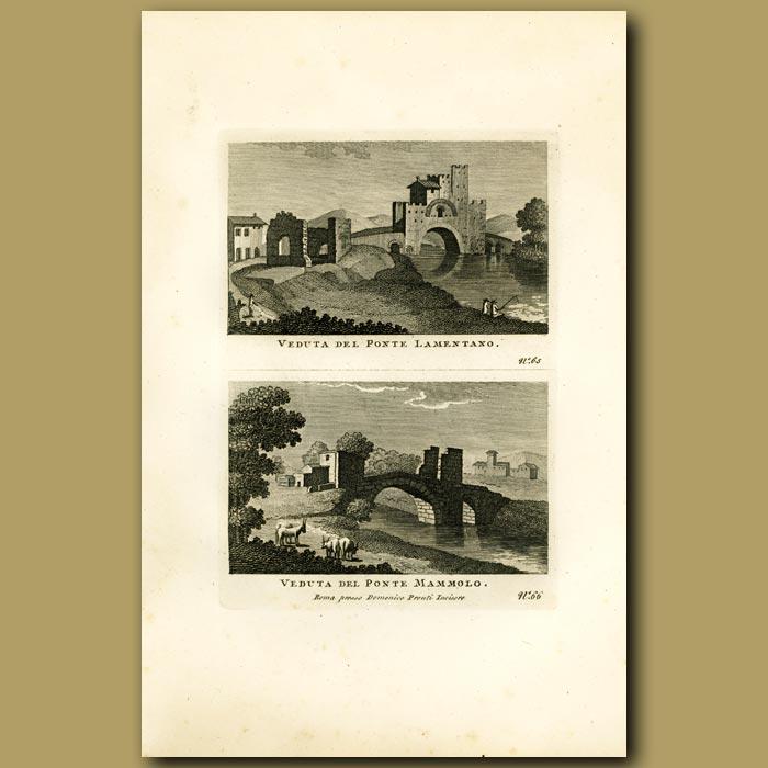 Antique print. Views of the Lamentano Bridge and Mammolo Bridge