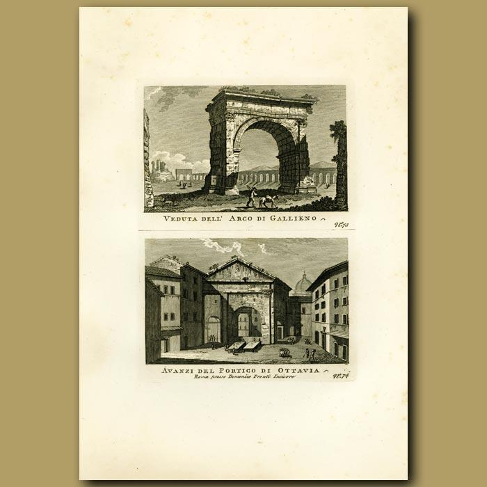 Antique print. Views of the Arco di Gallieno
