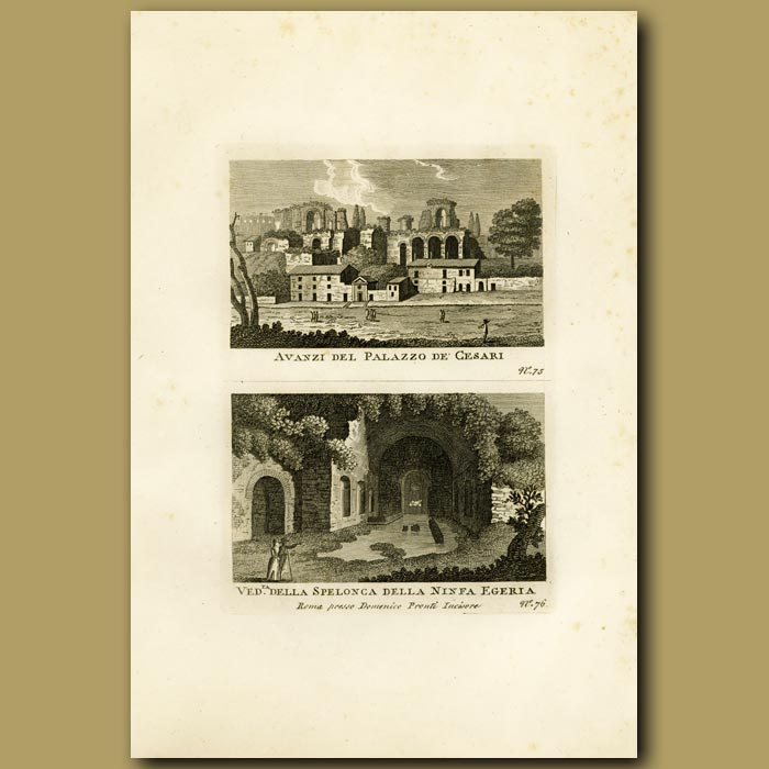 Antique print. Ruins of Caesar's Palace and Grotto of the Nymph Egeria