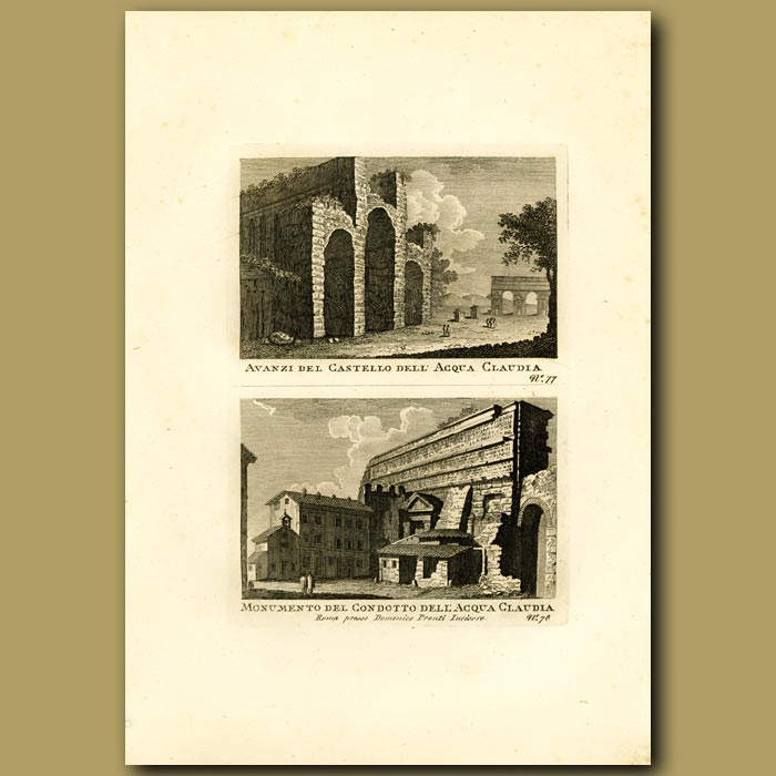 Antique print. Remains of the Monument and Aquaduct Claudia