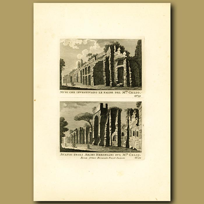 Antique print. View of the walls which enclosed the Caelian Hills and remains of the Nerionian Arches