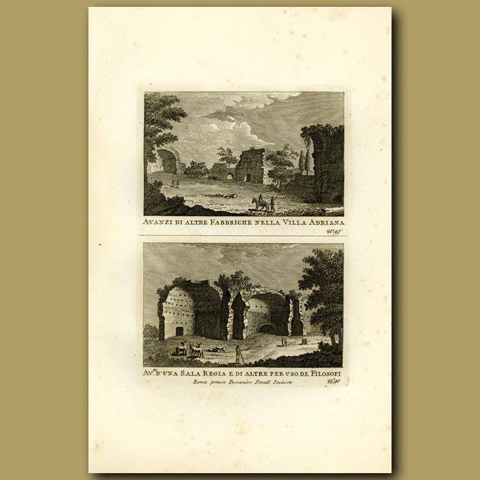 Antique print. Remains of Hadrian's Villa