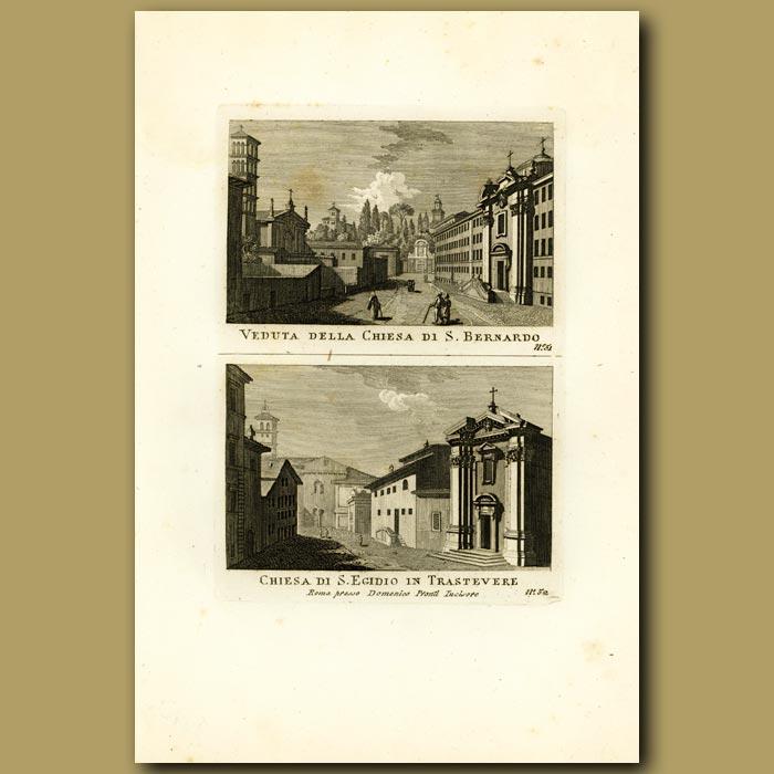 Antique print. Churches of S. Bernado and S. Egidio