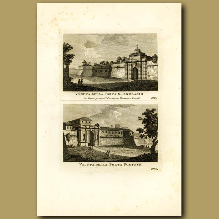 Antique print. Gates of S. Pancrazio and Portese