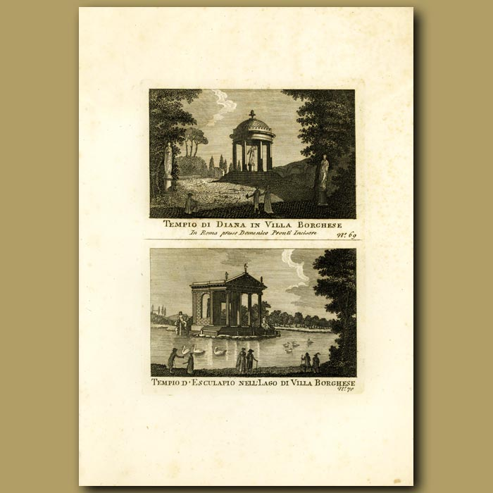 Antique print. Temple to Diana and Temple in the Villa Borghese