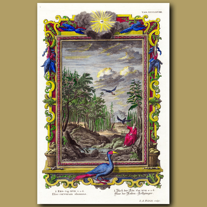 Antique print. Elijah Fed By Ravens