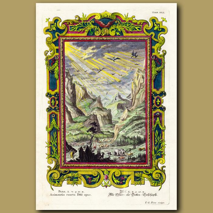 Antique print. Noah's Animals
