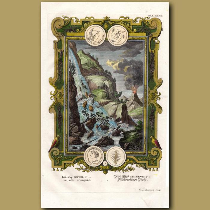 Antique print. Torrents of Water and Erupting Volcano