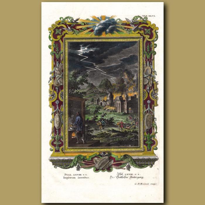Lightning Scattering People. (Impiorum Interitus): Genuine antique print for sale.