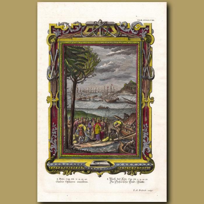 Antique print. King Solomon's Gold Fleet